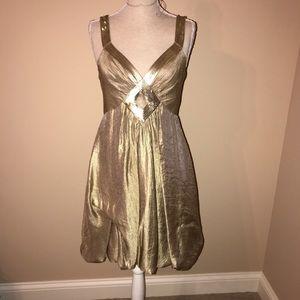 BCBG MAXAZRIA Gold Bubble dress